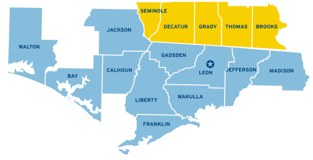 Barineau Heating and Air Conditioning Service Map